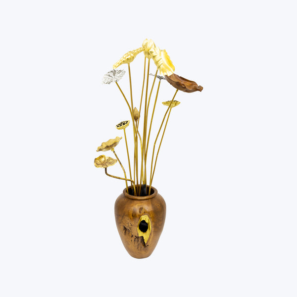 Teak Wood Vase with Lotus leaves and Flowers