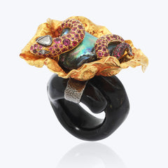 Snake ring with Abalone Pearl & Pink tourmaline