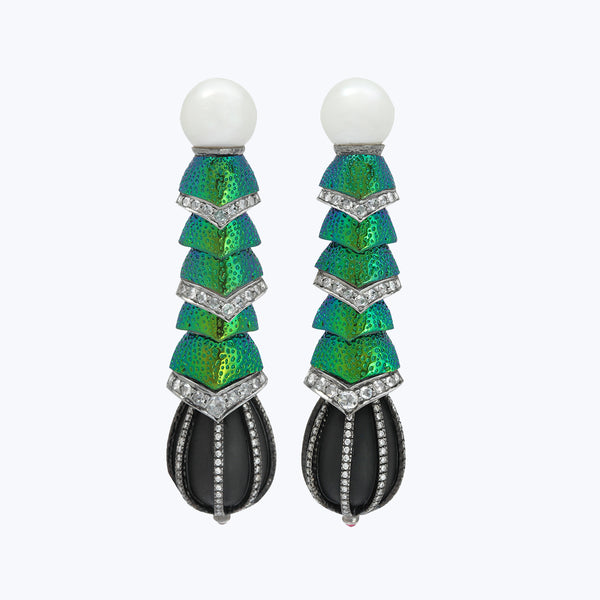 Scarab Earrings with Black wood beads & Diamond
