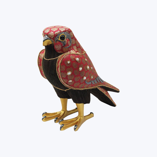Falcon with Antique Fabrics, Pearls and Diamonds