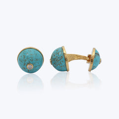 Turquoise Cufflinks with Diamonds
