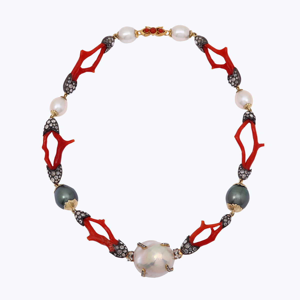 Red Stone necklace with Diamond & Pearl