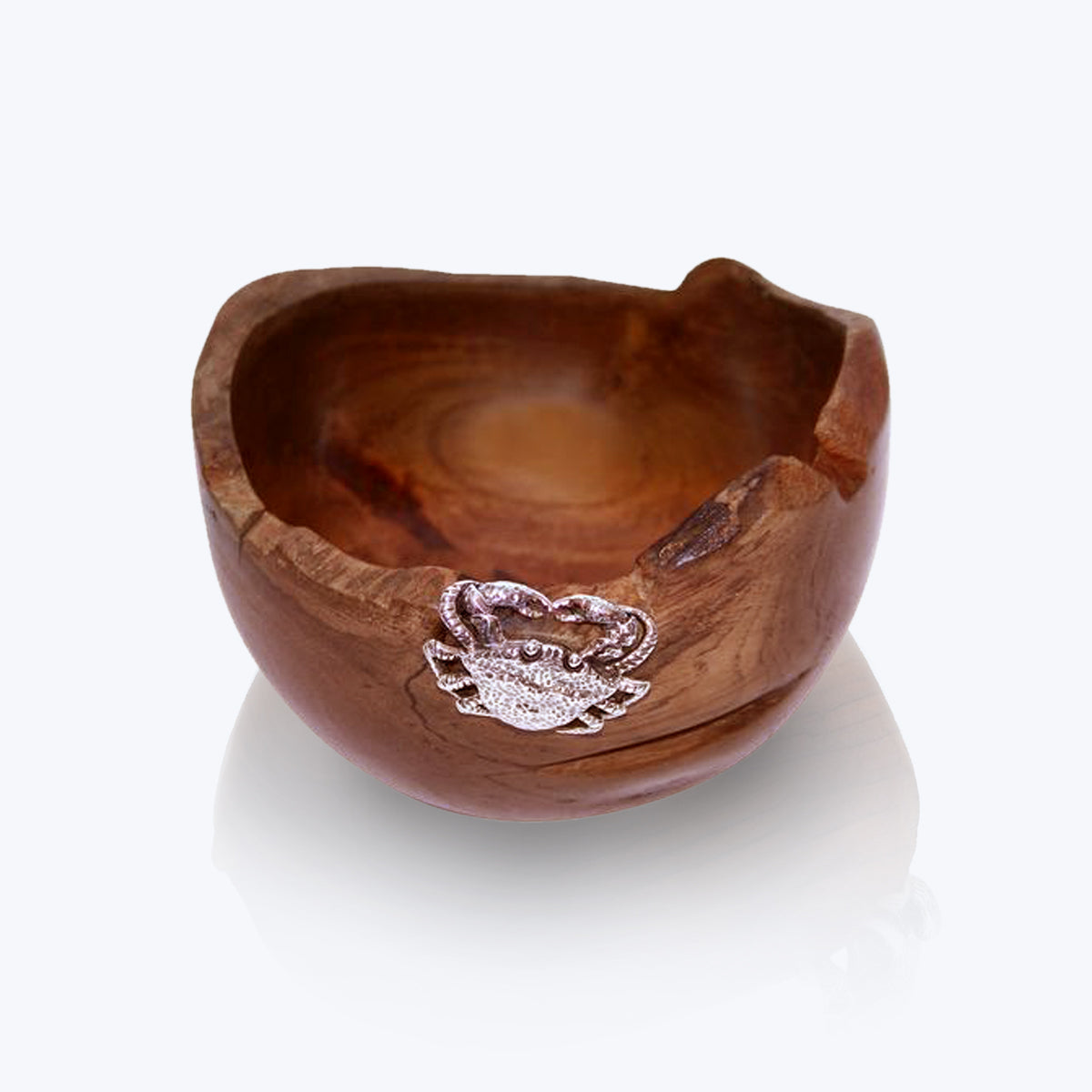 Teak Wood Bowl with Silver Crab