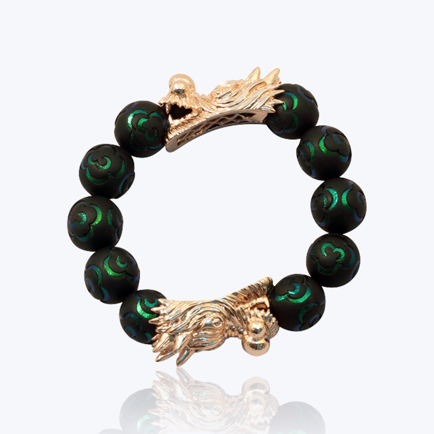 2 Dragon Heads Bracelet with Scarab