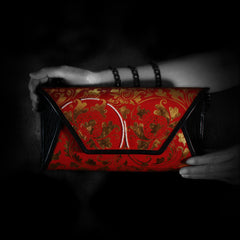 Red and Gold painted handbag with Pearls