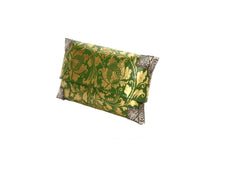 Green & Gold painted handbag with Silver corners - Size M