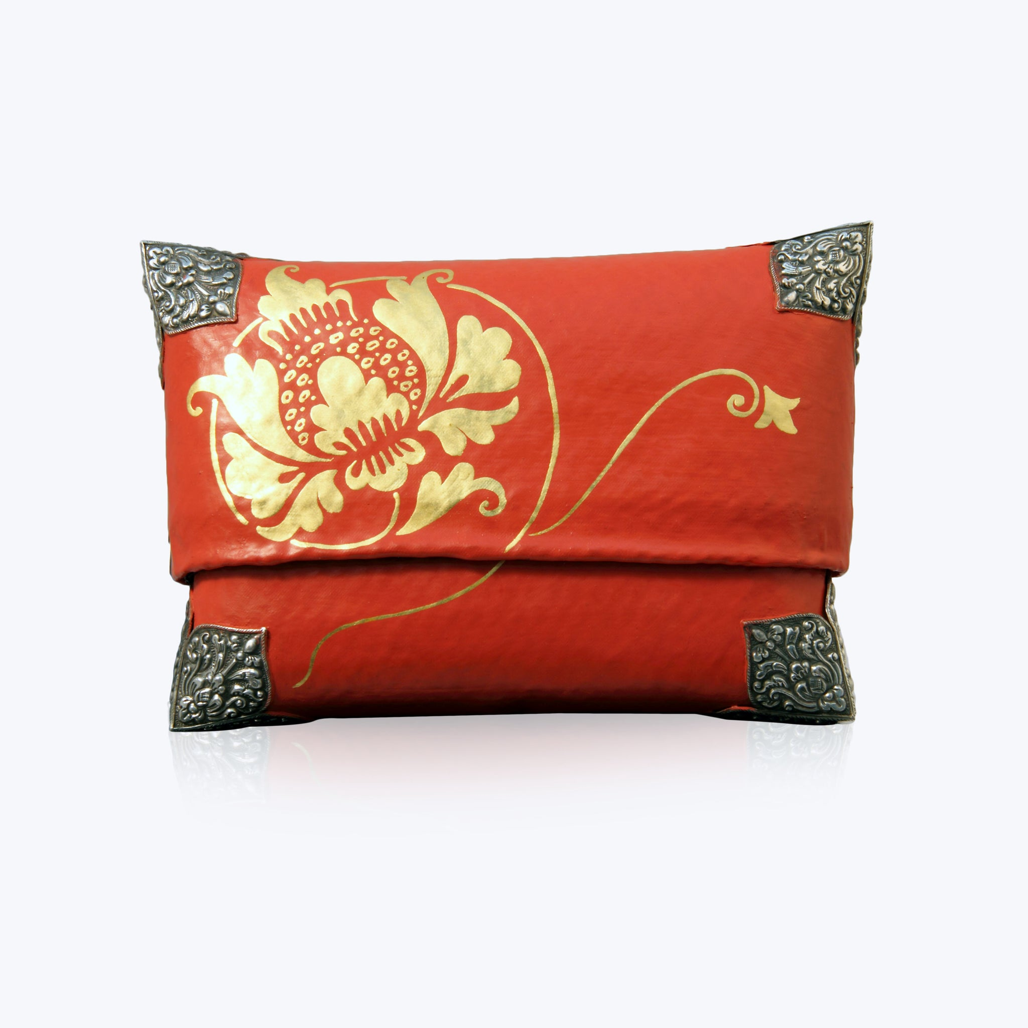 Red & Gold Painted Bamboo Handbag with Gold Lotus