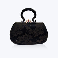 Brocade Handbag with Diamond and Crystal