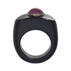 Agate Ring with Ruby