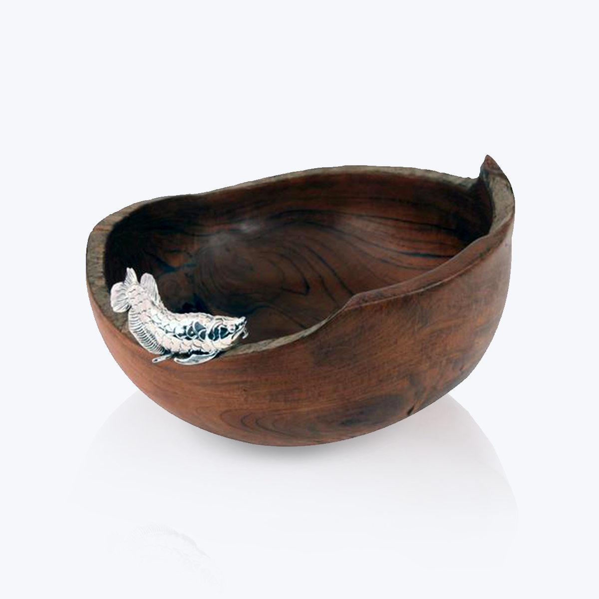 Teak Wood Bowl with Silver Arowana