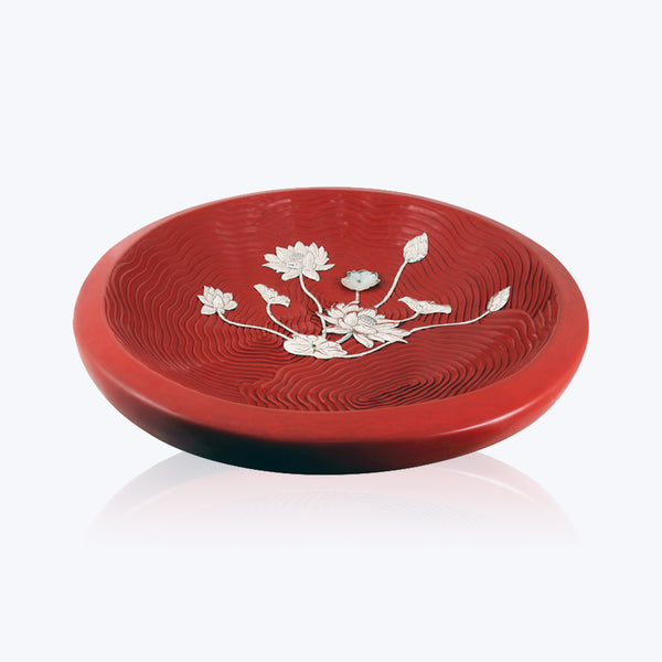 Cinnabar Lacquer Bowl with Silver Lotus Flower
