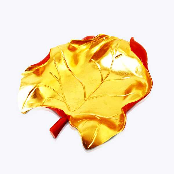Carved Wooden Leaf with Gold Leaf and Red Lacquer