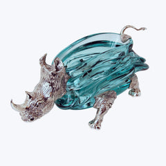 Glass Ashtray with Silver Rhino