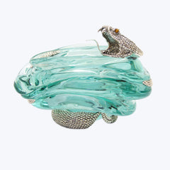 Glass Ashtray with Silver Snake