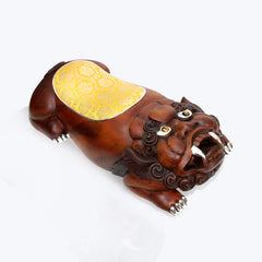 Wooden Foo Dog Stool with Gold Cushion