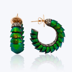 Scarab Earrings with Diamond, Silver and 9K Gold