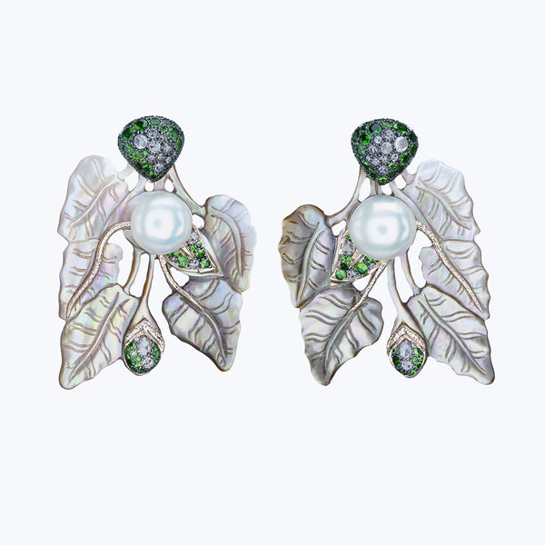 Carved Shell Earrings with Tsavorite, Diamonds & Pearl
