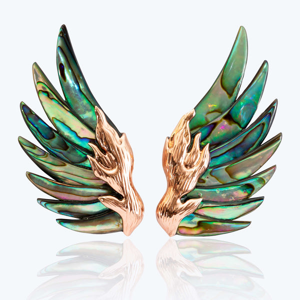 Carved Abalone Shell Earrings with 9K Pink Gold