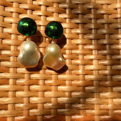 Pearl Earrings with Scarab Bead and Diamond