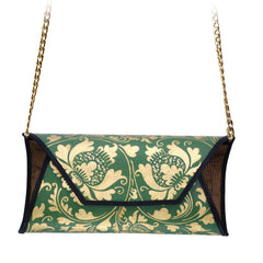 Green and Gold Painted Handbag with Pearl