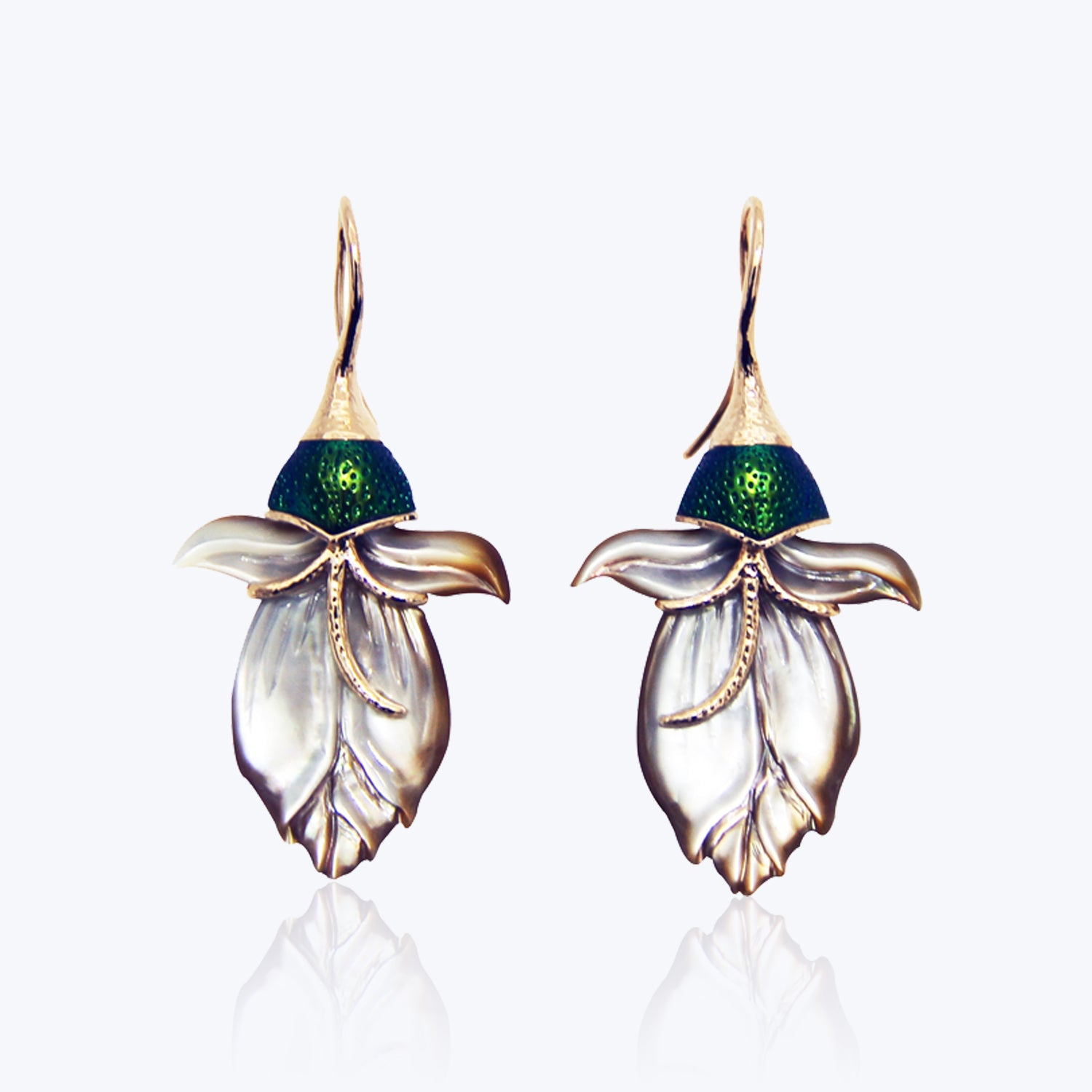 Carved shell earrings with Scarab