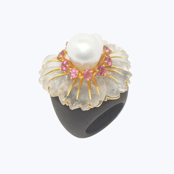 Black wood Ring with Crystal Flower, Pink Tourmalines & Pearl