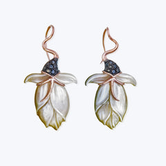 Carved Shell Earrings with Diamond