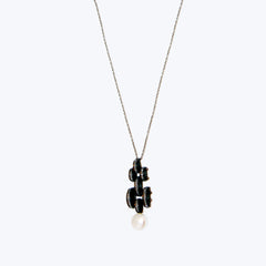 Art Deco Necklace with Black wood & Diamond