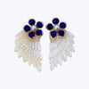 Carved Shell Earrings with Lapis Lazuli & Pearl wt. 14.00 g.