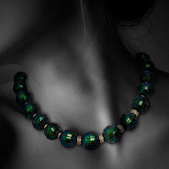 Scarab Bead Necklace with Diamond