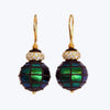 Scarab Bead Earrings with Diamond Spacer