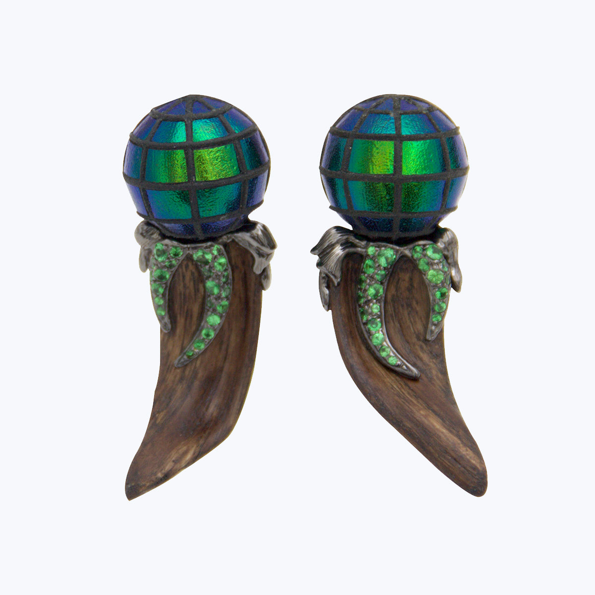 Crazy Wood Earrings with Scarab Bead and Tsavorite