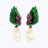 Scarab Earrings with Pearl & Pink Tourmaline