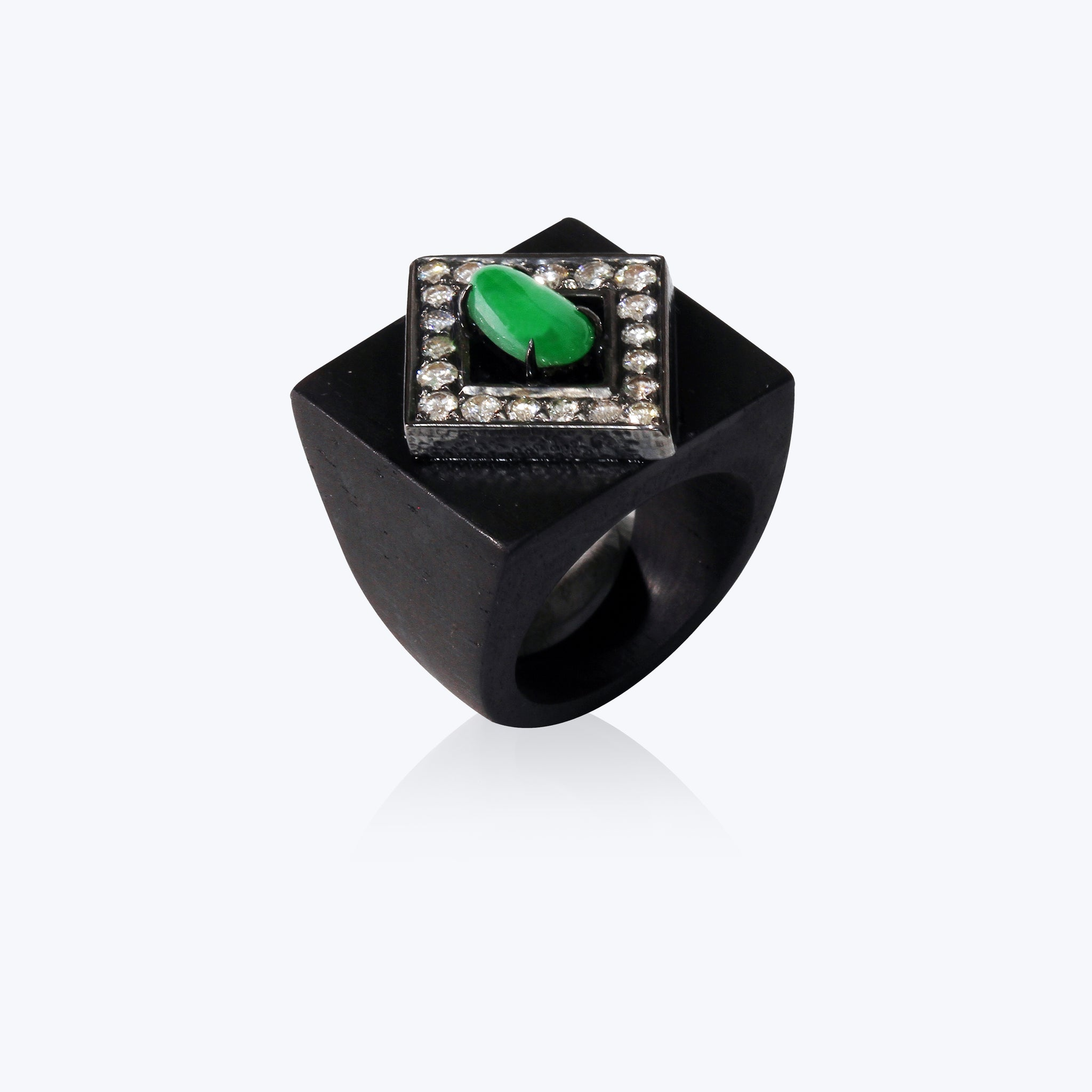 Black Wood Ring with Jade and Diamond
