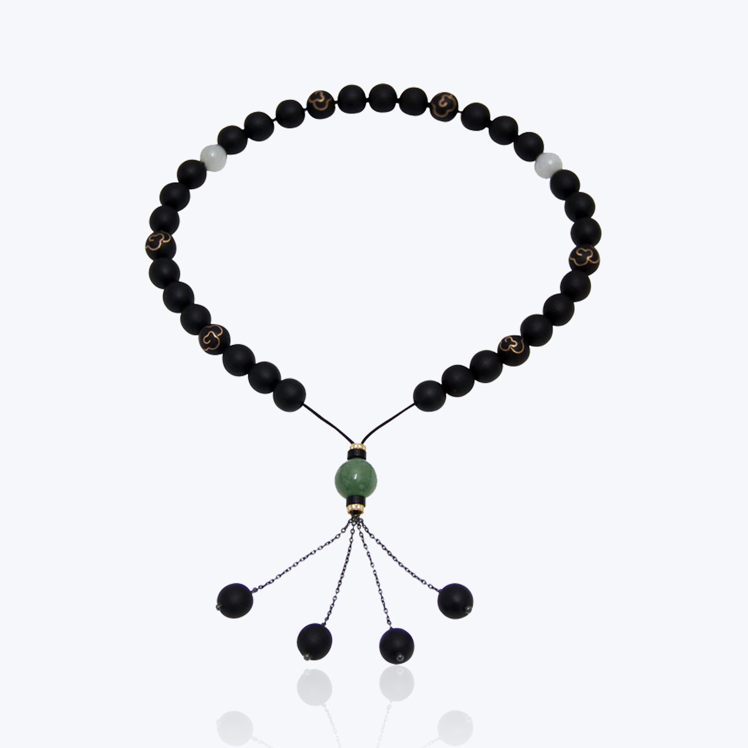 Tasbih with Black wood and 9K Inlaid Bead