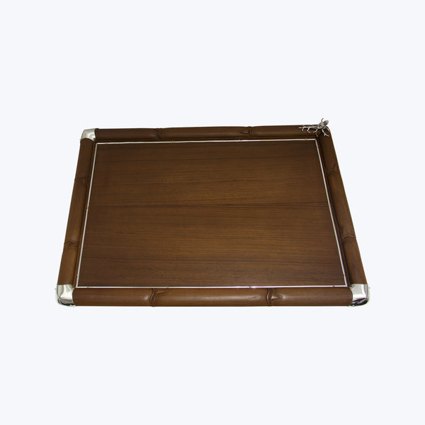 Wooden Tray Decorated with Silver Shell