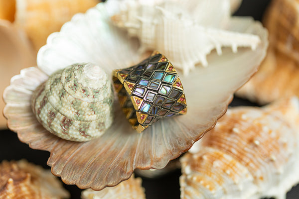 Abalone Shell Flexible Ring with Pink Tourmaline