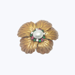Japanese Lacquer Flower Ring with Pearl