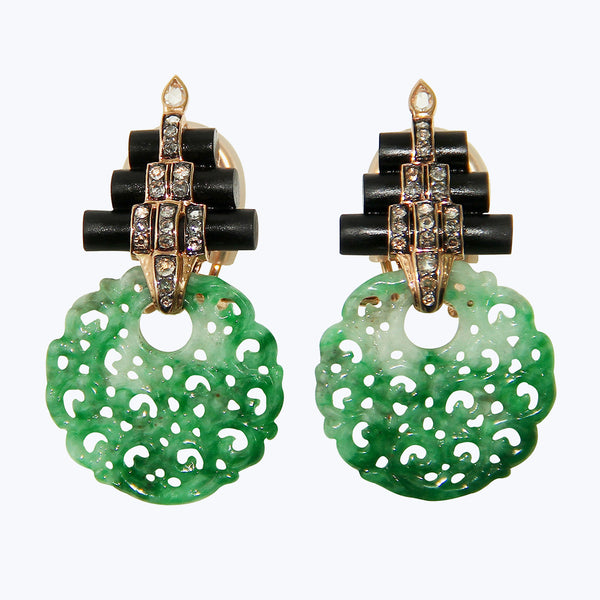 Carved Green Jade Earrings with Diamond & Black wood