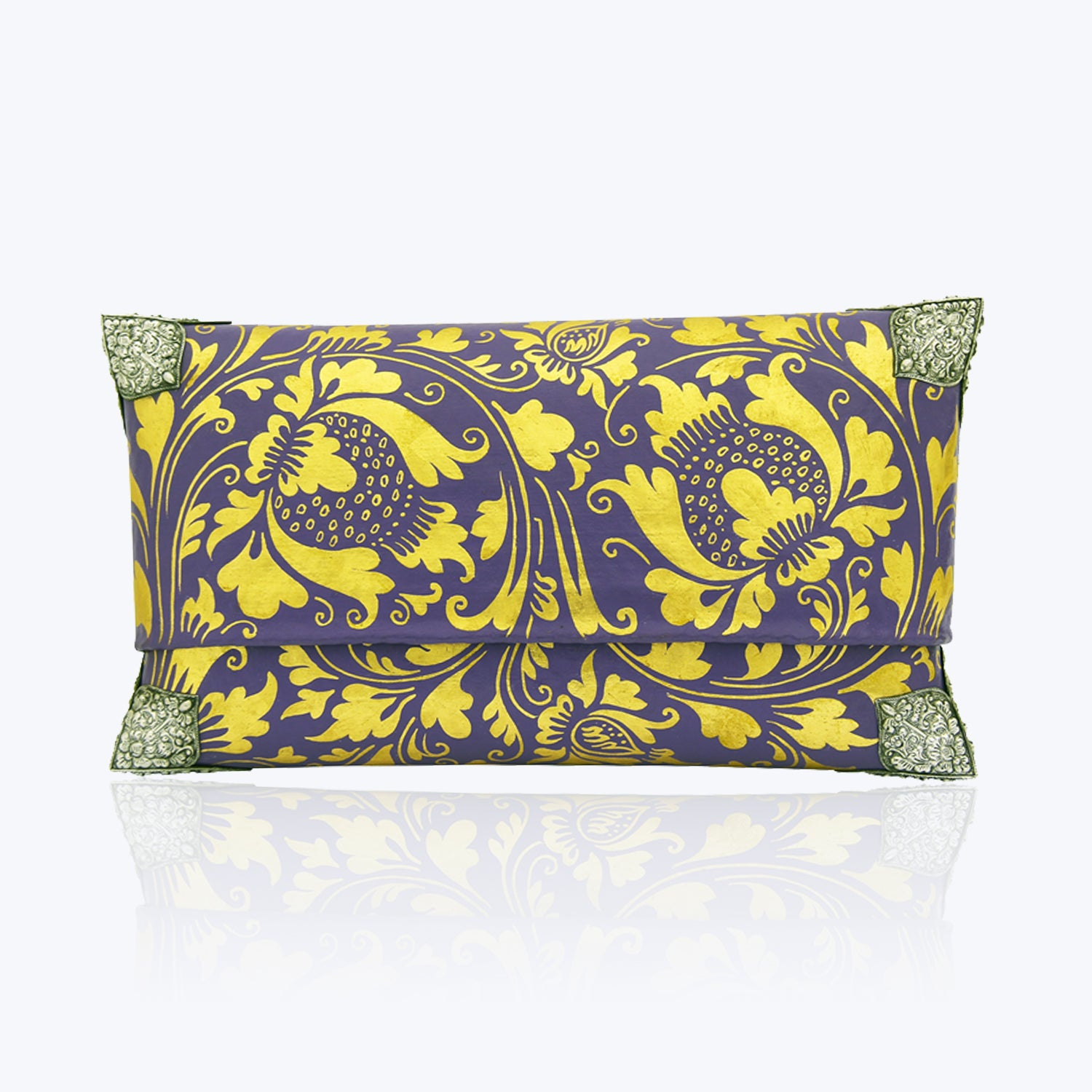 Violet & Gold Painted Handbag with Silver Corners