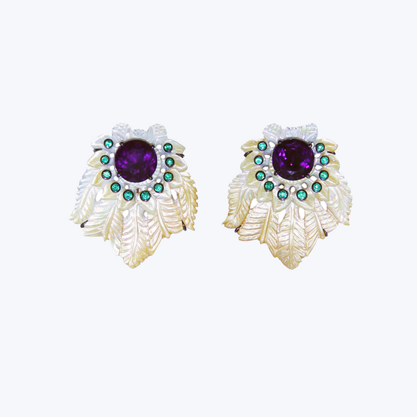 Carved Shell Earrings with Amethyst and Emerald