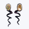 Spiral Earrings with Pearls, Diamonds & Tourmalines