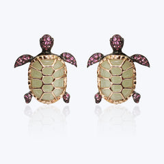 Turtle Earrings with Jade & Pink Tourmaline