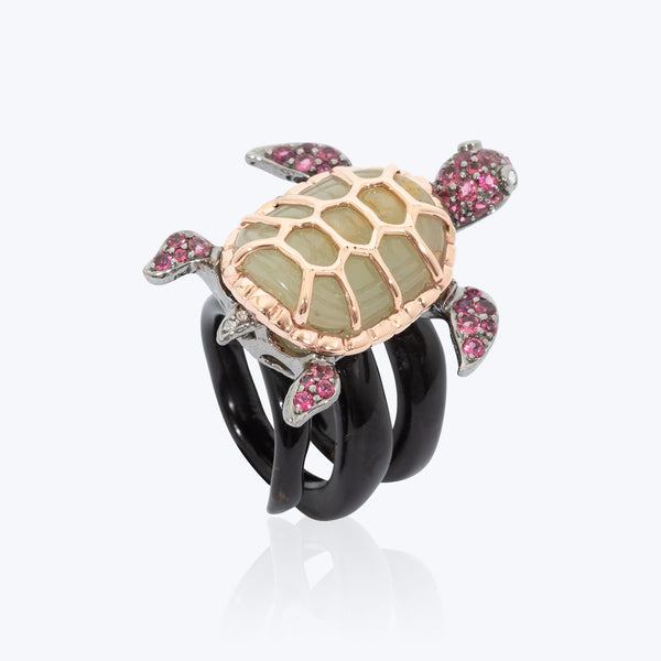 Turtle Ring with Jade and Pink Tourmaline wt. 17.88 g. # 55