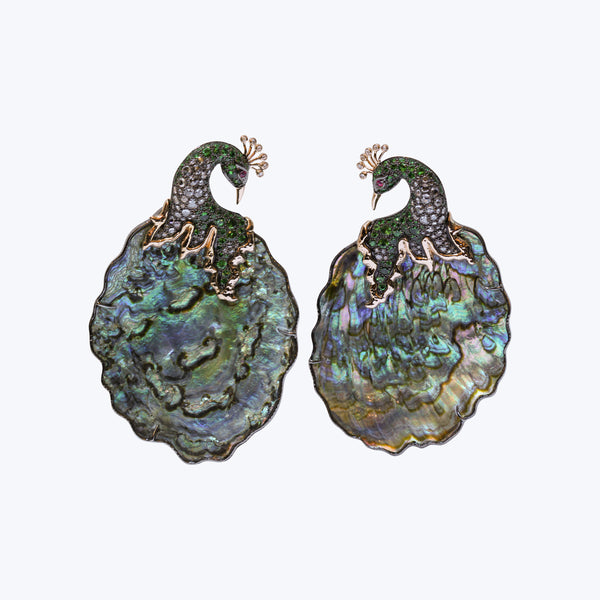 Shimmering Iridescence Abalone Shell Peacock Earrings (Size -L)