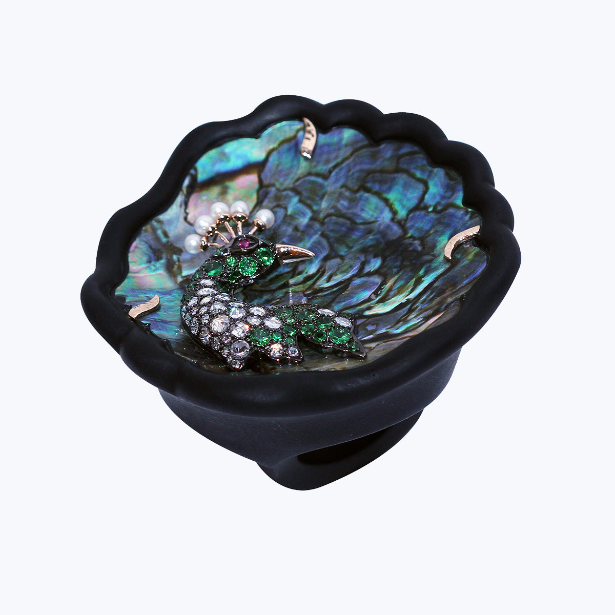 Black wood Ring with Abalone Shell Peacock & Diamond