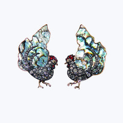 Chicken Earrings with Abalone Shell Diamond