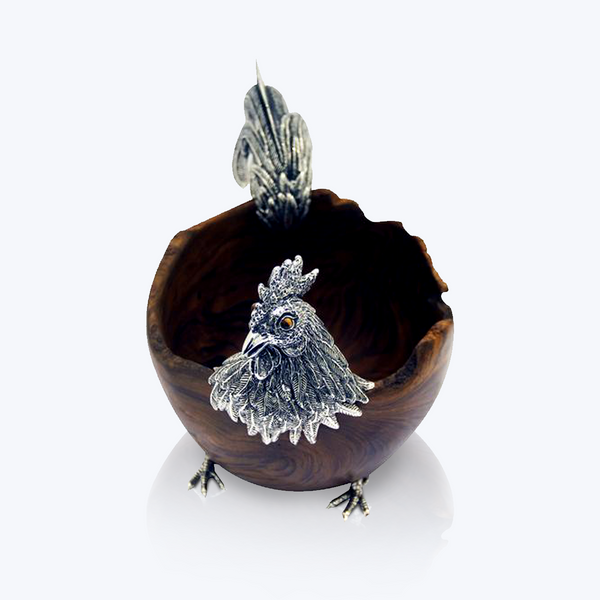 Wooden Rooster Bowl