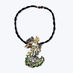 Phoenix Necklace with Abalone Shell & Diamond