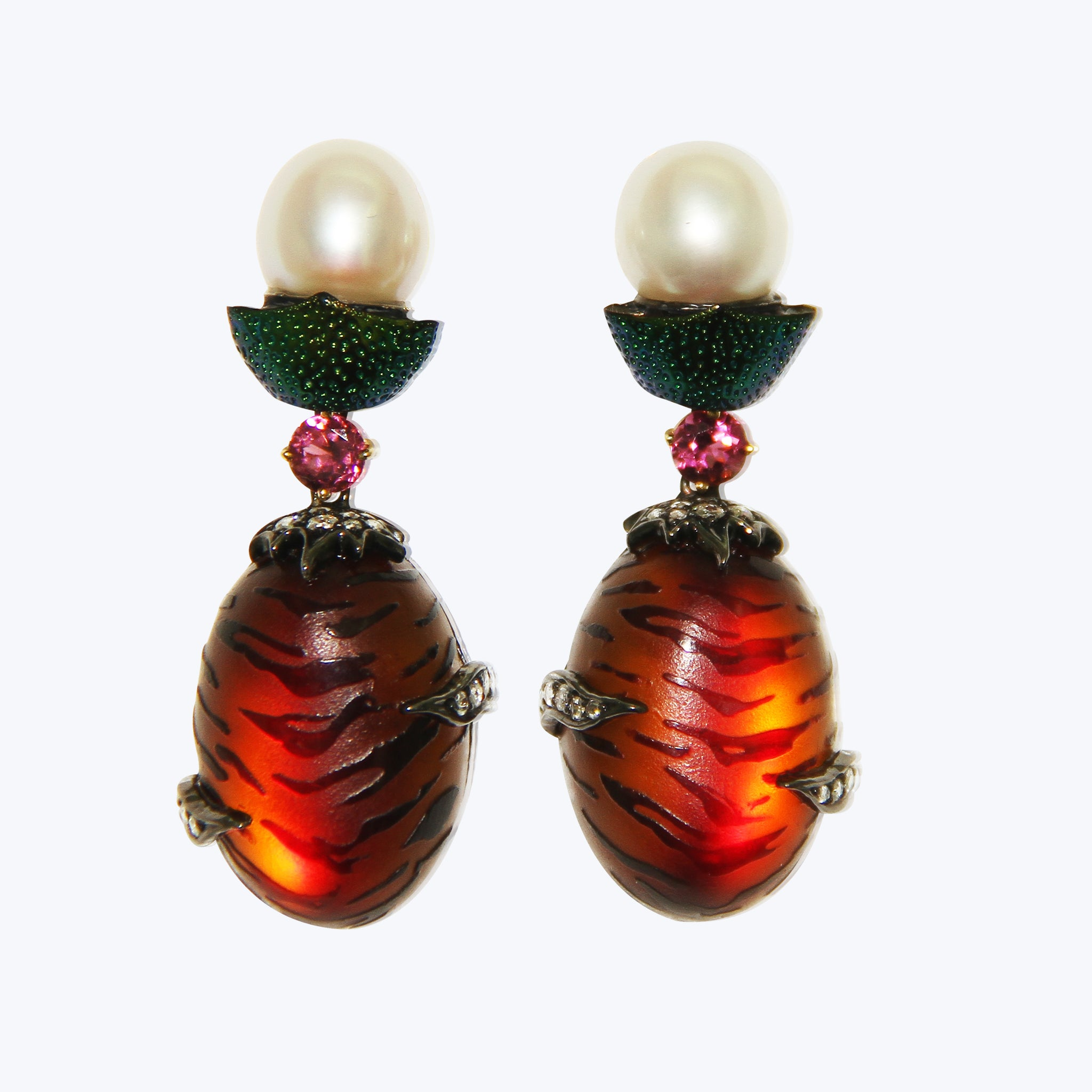 Amber Earrings with Scarab , Pearl & Pink Tourmaline